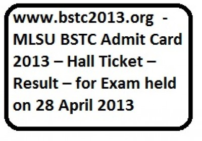 Rajasthan Pre BSTC 2013 Hall Ticket/Admit Card Download