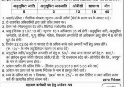 Rajasthan State Co-operative Bank Recruitment  for Assistant Post