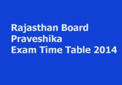 Rajasthan Board Praveshika Exam Time Table 2014 announced
