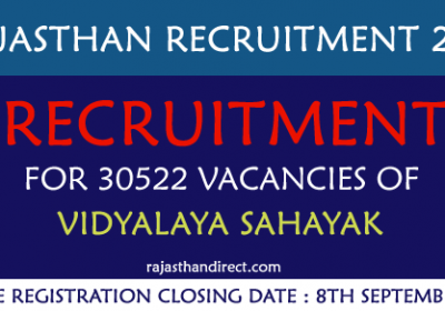 Recruitment for 30522 Vacancies of Vidyalaya Sahayak