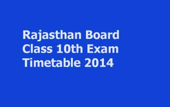 Rajasthan Board Class 10 Exam Timetable 2014 announced
