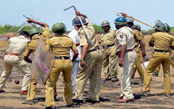 Police and Villagers Clash , 15 Injured