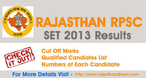 Rajasthan RPSC SET 2013 Results